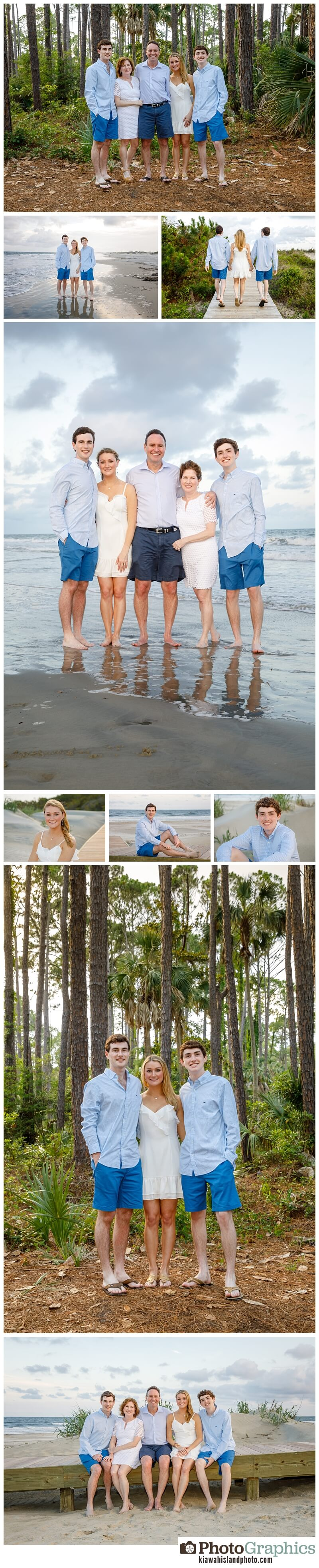 family of 5 family portraits Kiawah Island