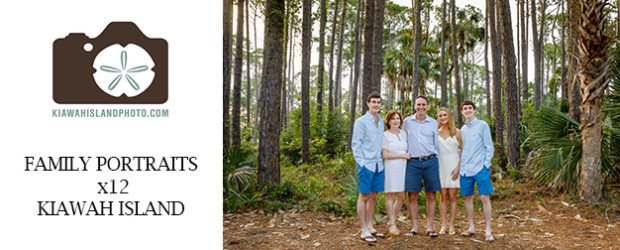 family of five beach portrait session kiawah island