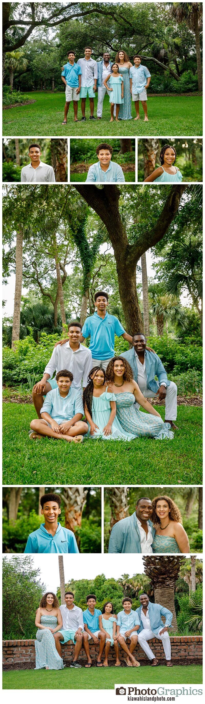 family of 6 photographed kiawah island