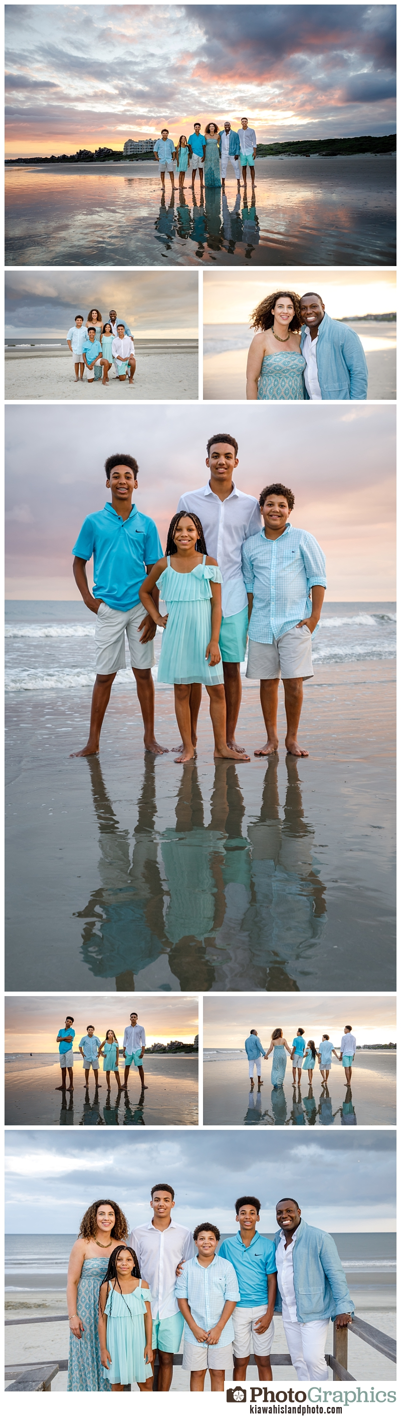 family of six portrait collage on seabrook island