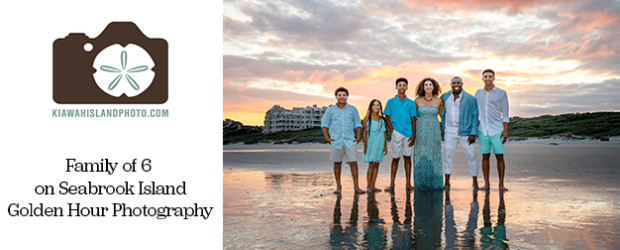 family of 6 photographed on beach in seabrook island