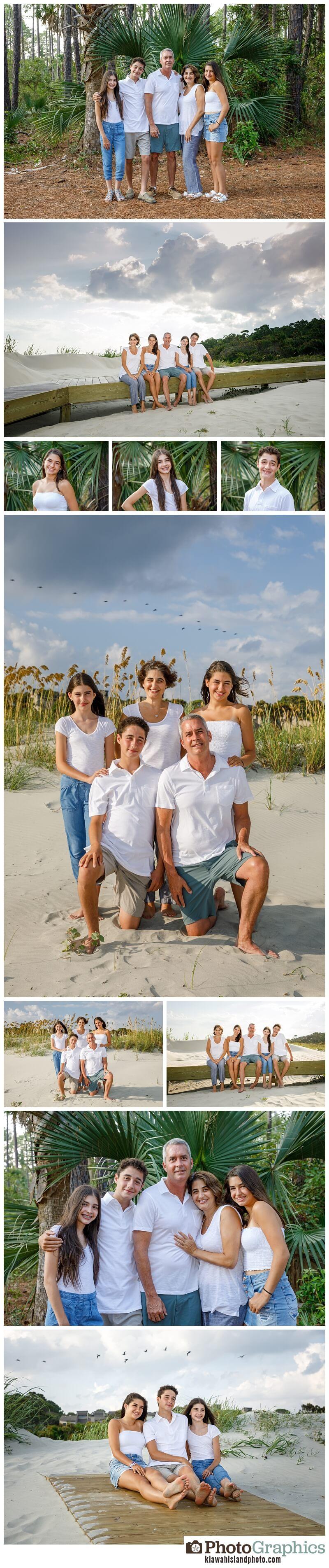 family of five photos on the beach in kiawah island