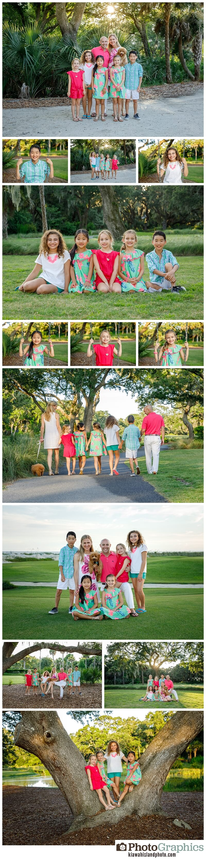 family photos in the park on kiawah island family of 6