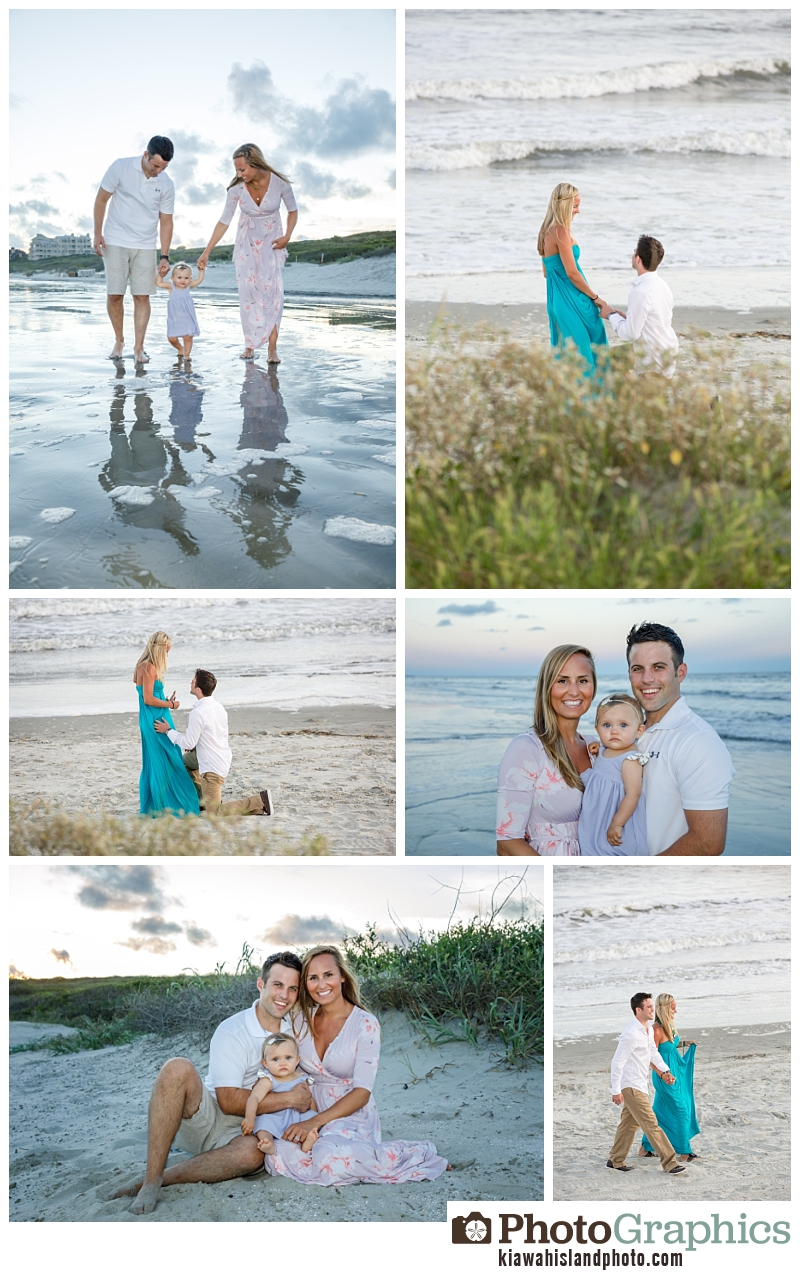 photos from a surprise engagement session years ago and now with their family of three years later on Kiawah Island