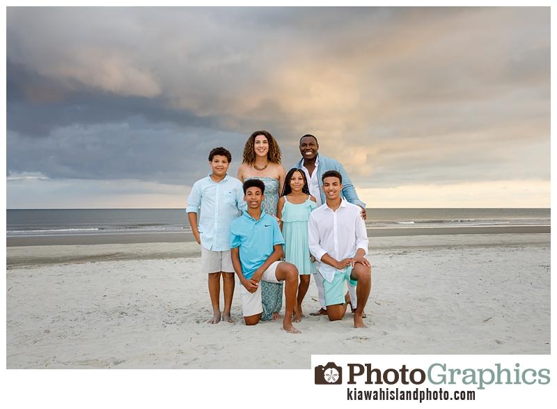 family photo session posing at the beach on Kiawah Island