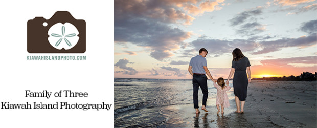 Family of three walking together at sunset, photo taken by Kiawah Island Photograher Michael Cyra