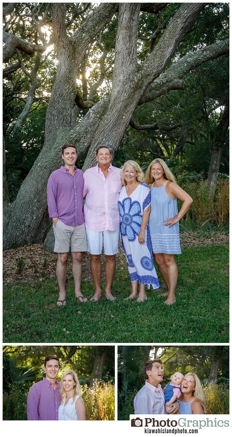 Family of four standing on the grass, family portraits on Kiawah Island, Kiawah Island Photographer