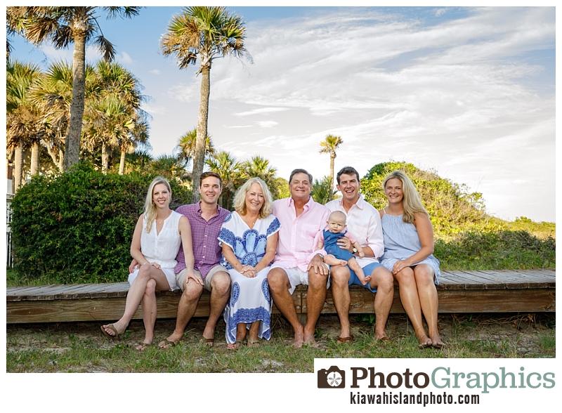 Family sitting on boardwalk near beach, Kiawah Island photographer, family portraits Kiawah Island