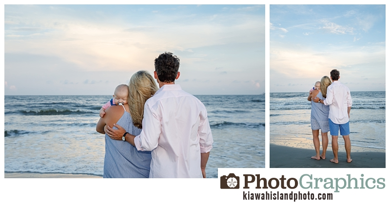 New baby family portraits at sunset on the beach at Kiawah Island