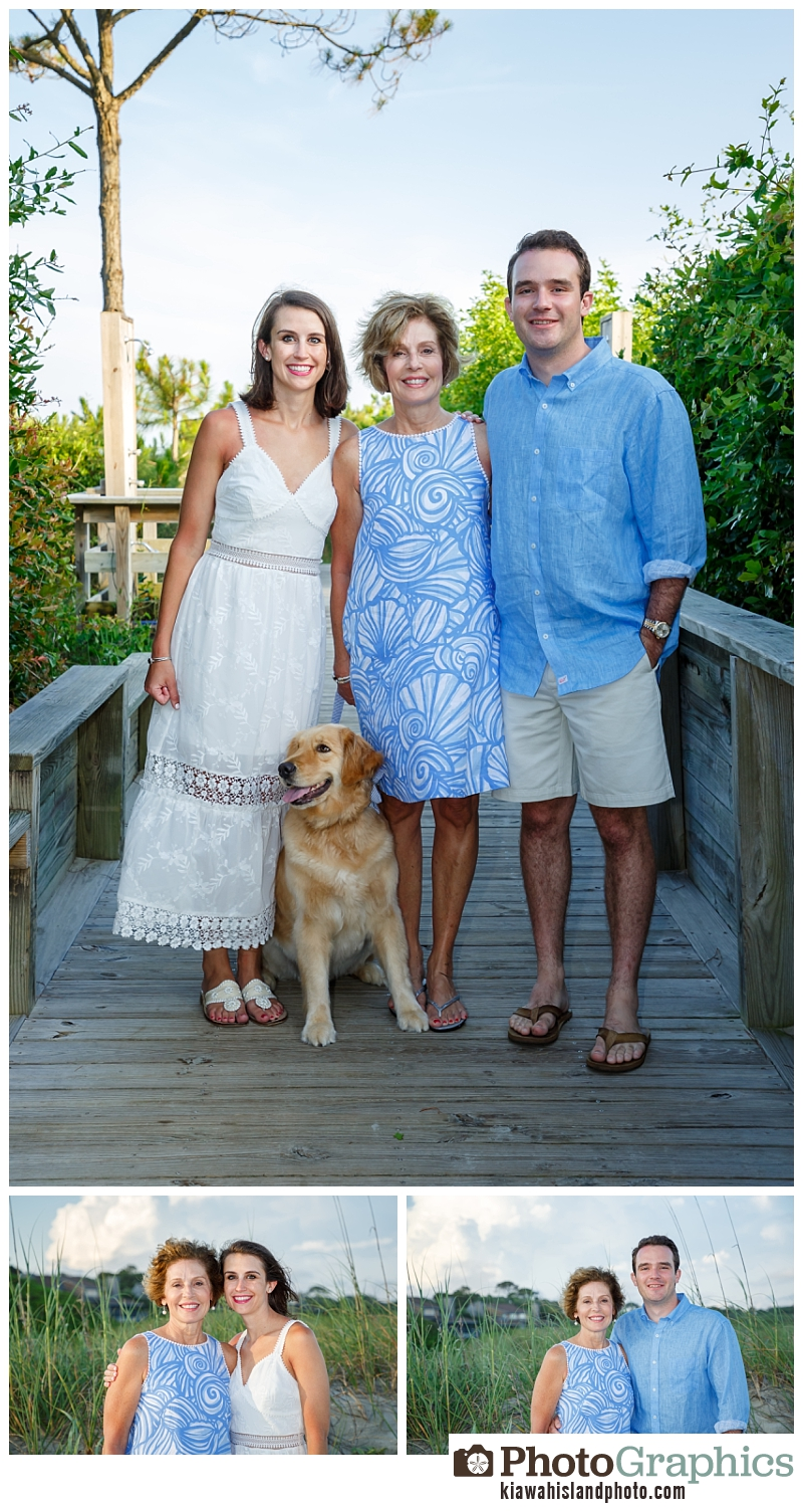 family at boardwalk with their dog, family portraits Kiawah Island