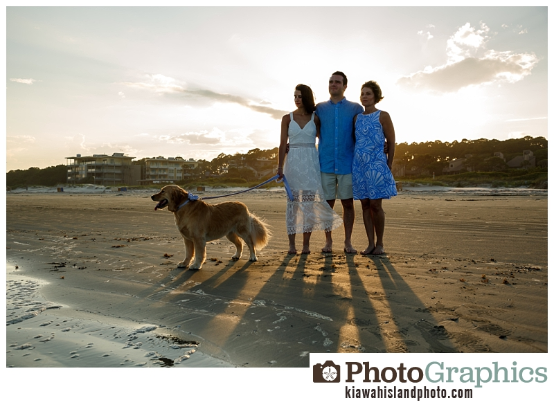 Family with their dog at the beach, Kiawah Family Portraits