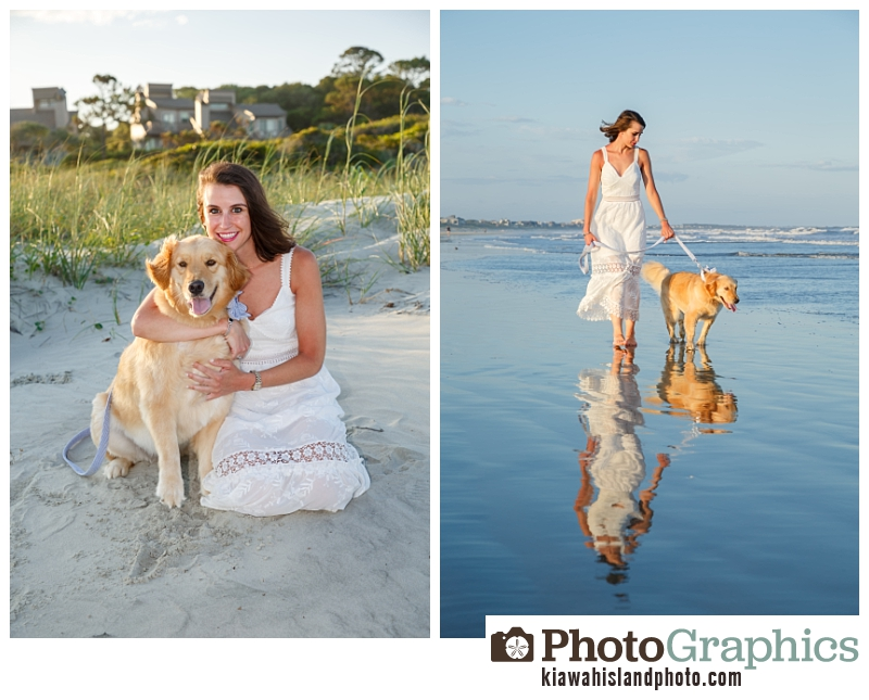 Girl and her dog at the beach on Kiawah Island South Carolina for family photos