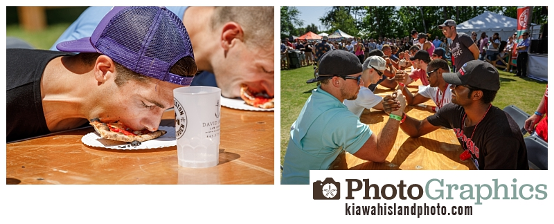 Pizza eating competition / arm wrestle competition - Charleston Beer Garden Event Photography
