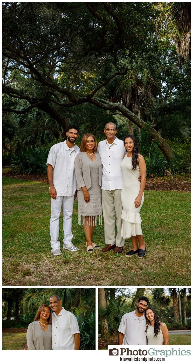 Family standing by trees in the grass for family photos on Kiawah