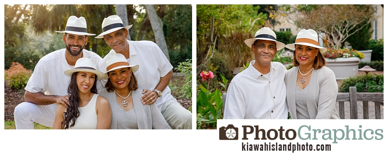 Family in fedoras on Kiawah Island for family portraits