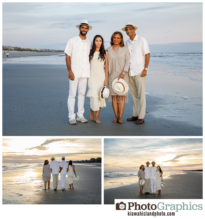 Family of four on the beach at Kiawah Island for family photos
