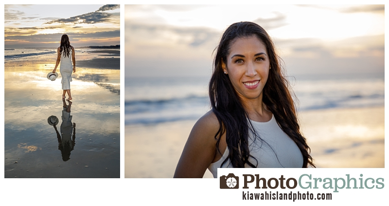 Lady on the beach at sunset at Kiawah Island for family photography