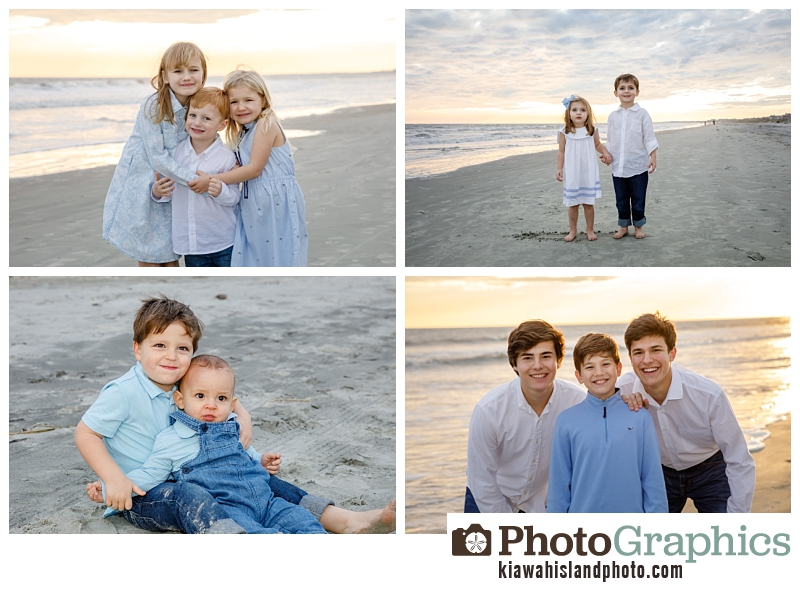 Grand kids at the beach on Kiawah Island for their family photos.