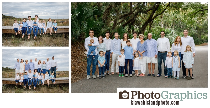 Large grup of people for their family photos on Kiawah Island on the boardwalk and near the trees. Kiawah Island family photos