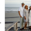 family of four on the boadrwalk in fedoras, family photos kiawah