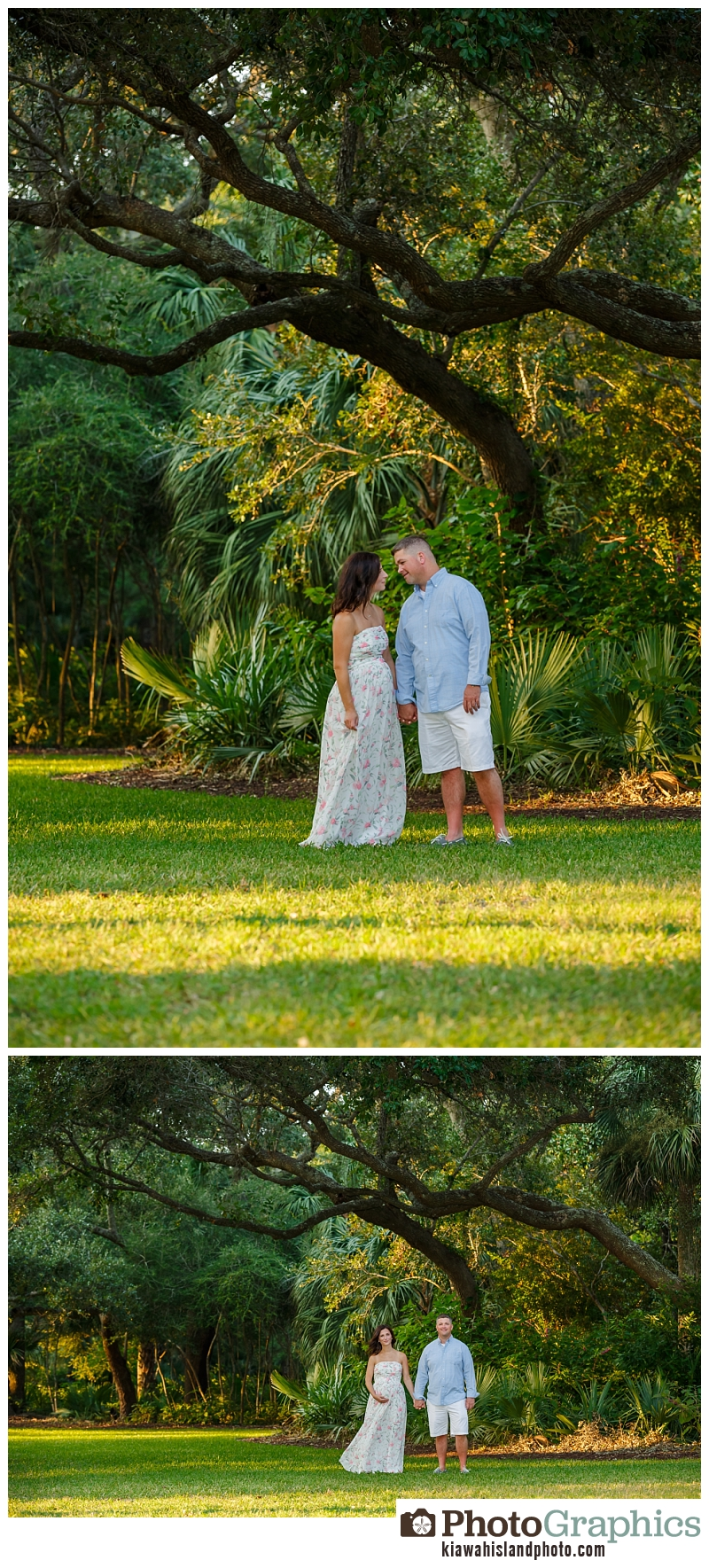 Couple at the park for maternity photography session - baby bump photos Kiawah Island
