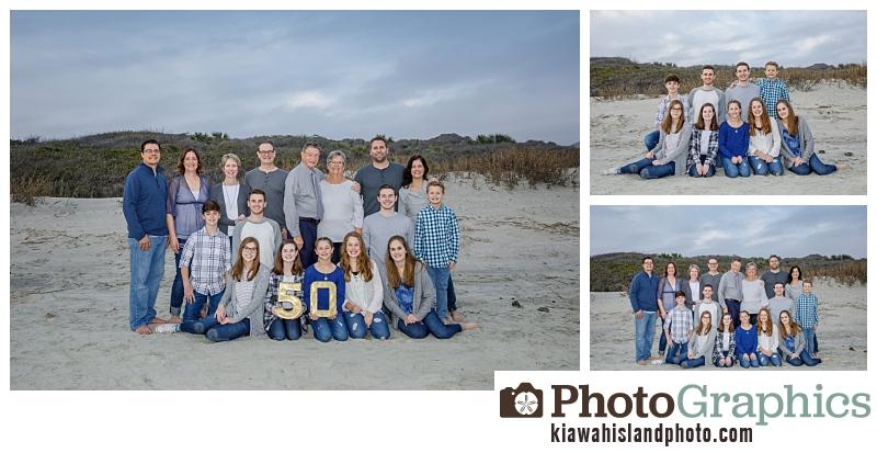 Beach family photos - large group photography - Kiawah Island