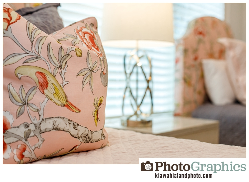 Pillows on bed in kids room , real estate photography Kiawah Island