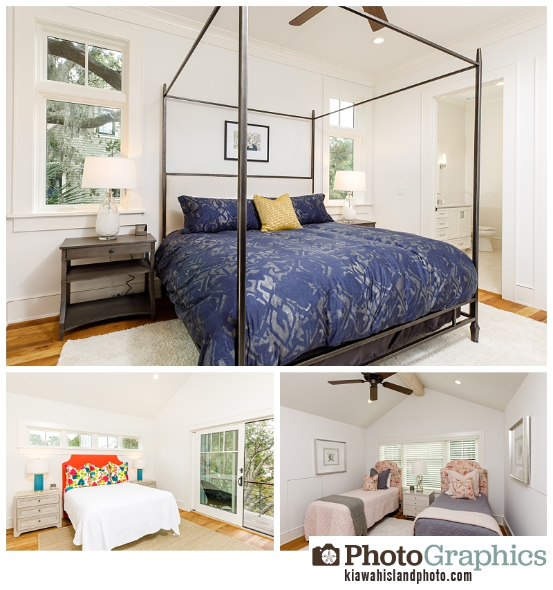 Master bedroom, childrens room and guest bedroom in Indigo Park - real estate photography Kiawah Island