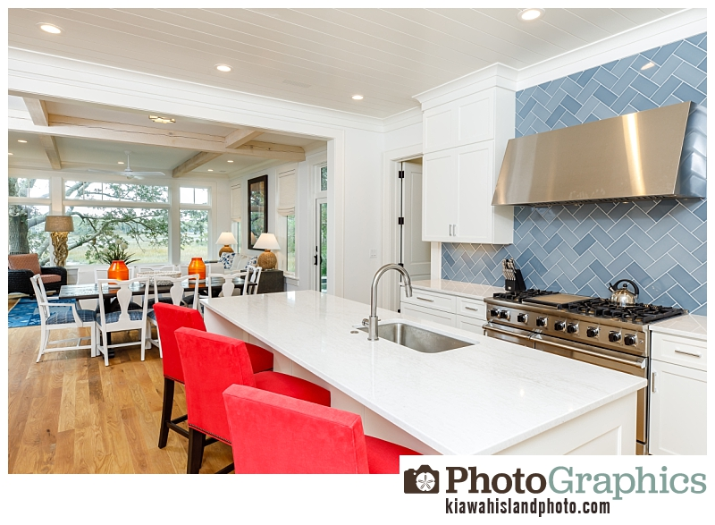 modern, clean white kitchen - real estate photography on Kiawah Island