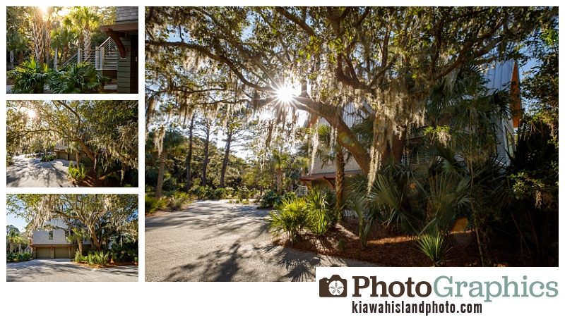 driveway with spanish moss hanging from trees - real estate photography on Kiawah Island