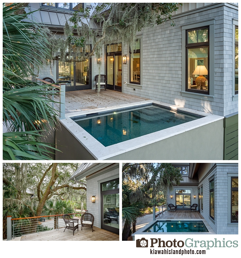 Backyard with a pool at a home in Indigo Park - Kiawah Island, Real Estate Photography
