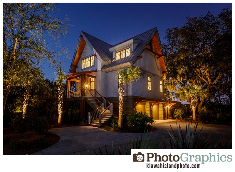 Front and side of home at twilight in Indigo Park - Kiawah Island Real Estate Photography