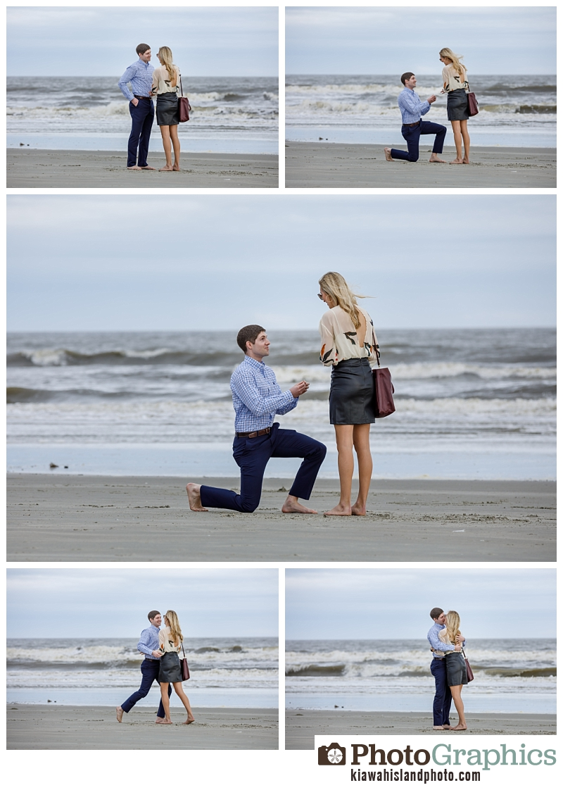 Man proposing to his girlfriend at The Sanctuary Resort on Kiawah Island, South Carolina