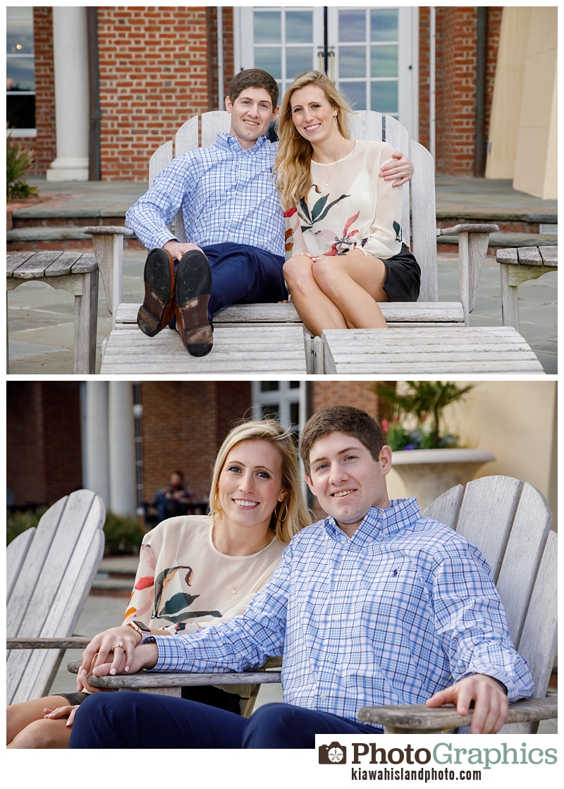 Couple smilling for camera after gettine engaged - couple photography Kiawah Island
