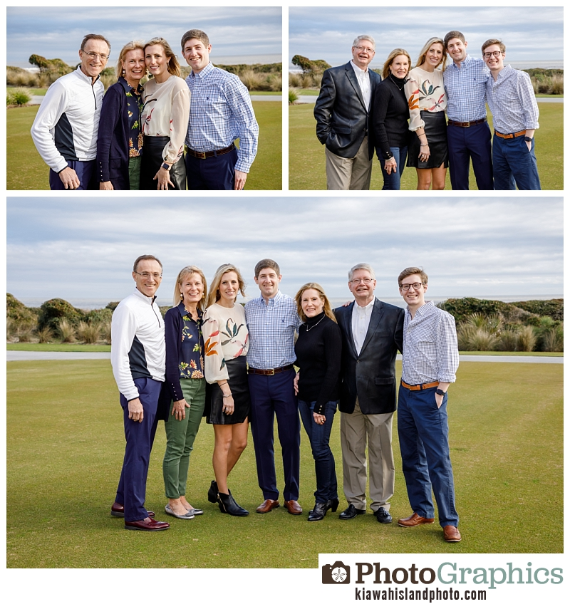 Family together after proposal on Kiawah Island, South Carolina