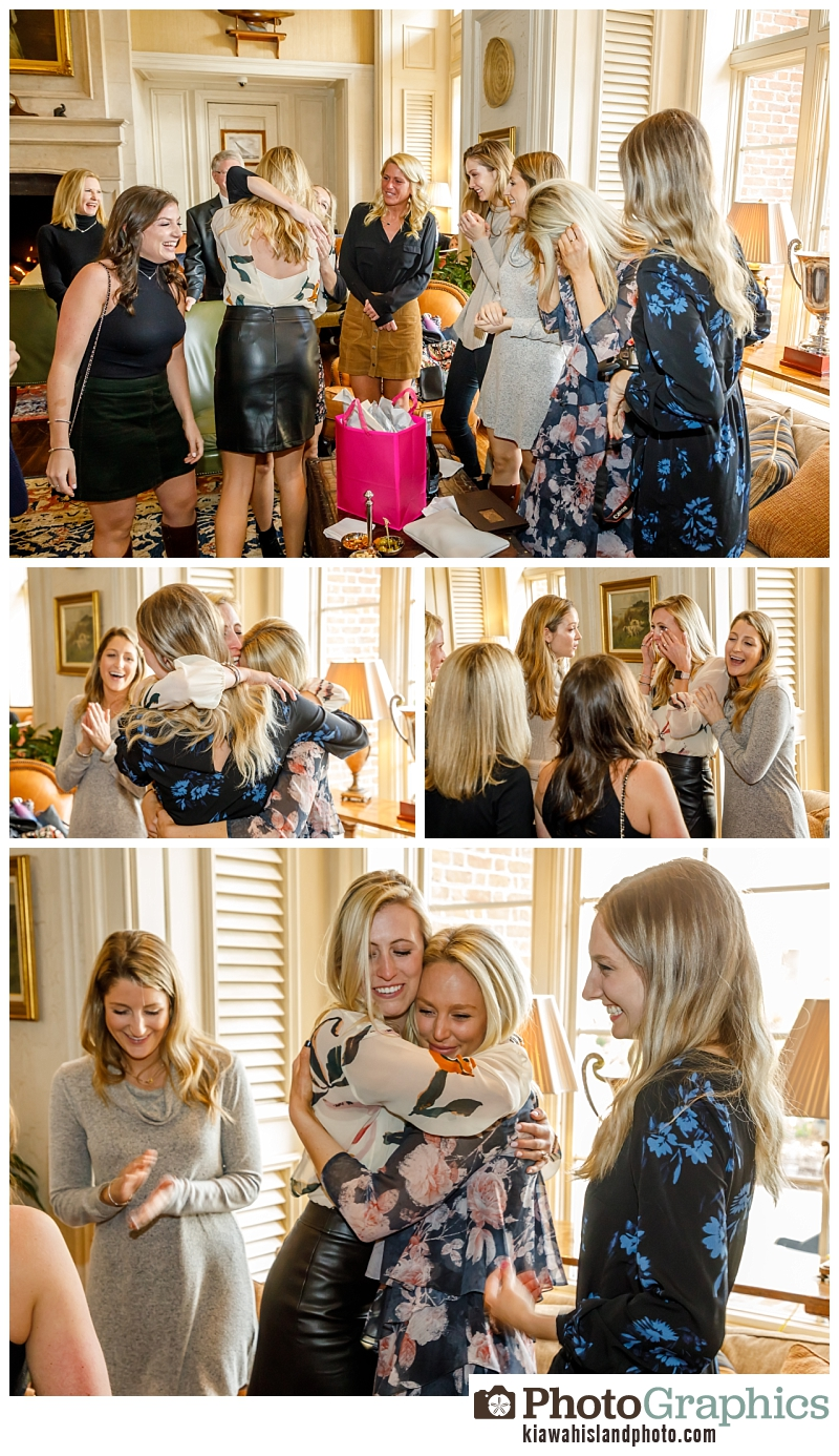 friends surprising couple after engagement on Kiawah Island, South Carolina - couple photography