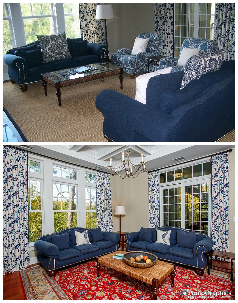 Living room photos on Kiawah Island, before and after. Real estate photography.