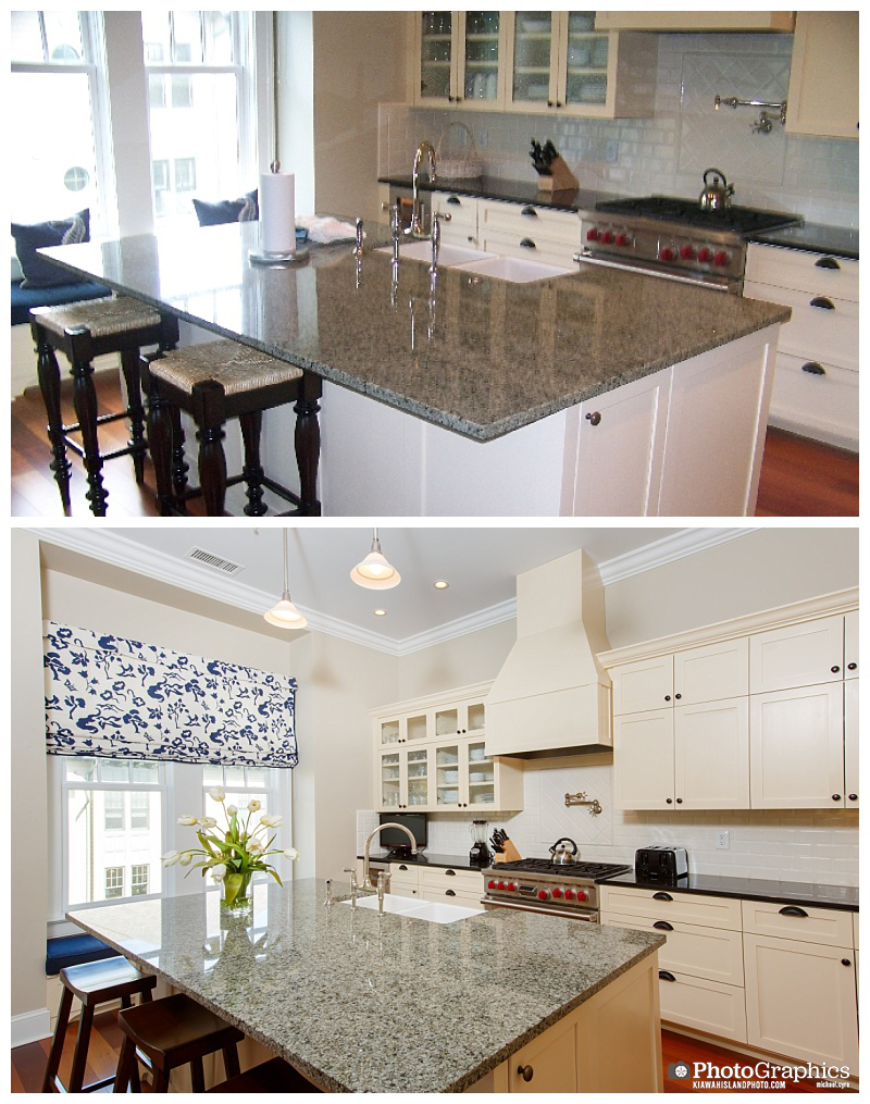 Before and after shots of a kitchen in Kiawah Island, South Carolina. Real Estate Photography