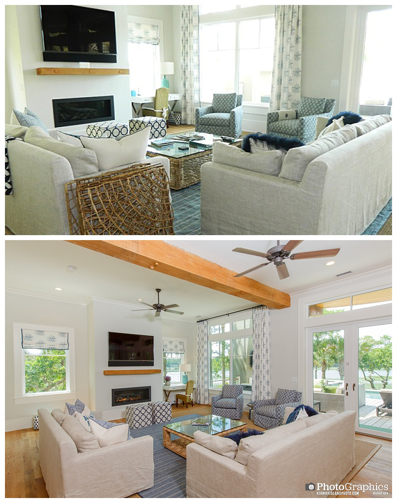 The difference professional photos can make. Before and after photos of a living room. Kiawah Island, South Carolina. Real Estate Photography