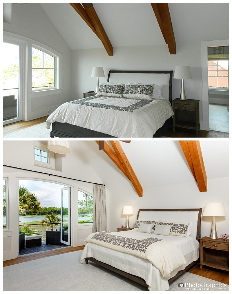 Before and after photos of a master bedroom on Kiawah Island. Real Estate Photography