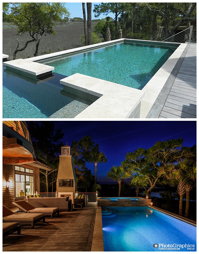Before and after photo of a pool at a house on Kiawah Island, South Carolina. One at twilight. Real Estate Photography