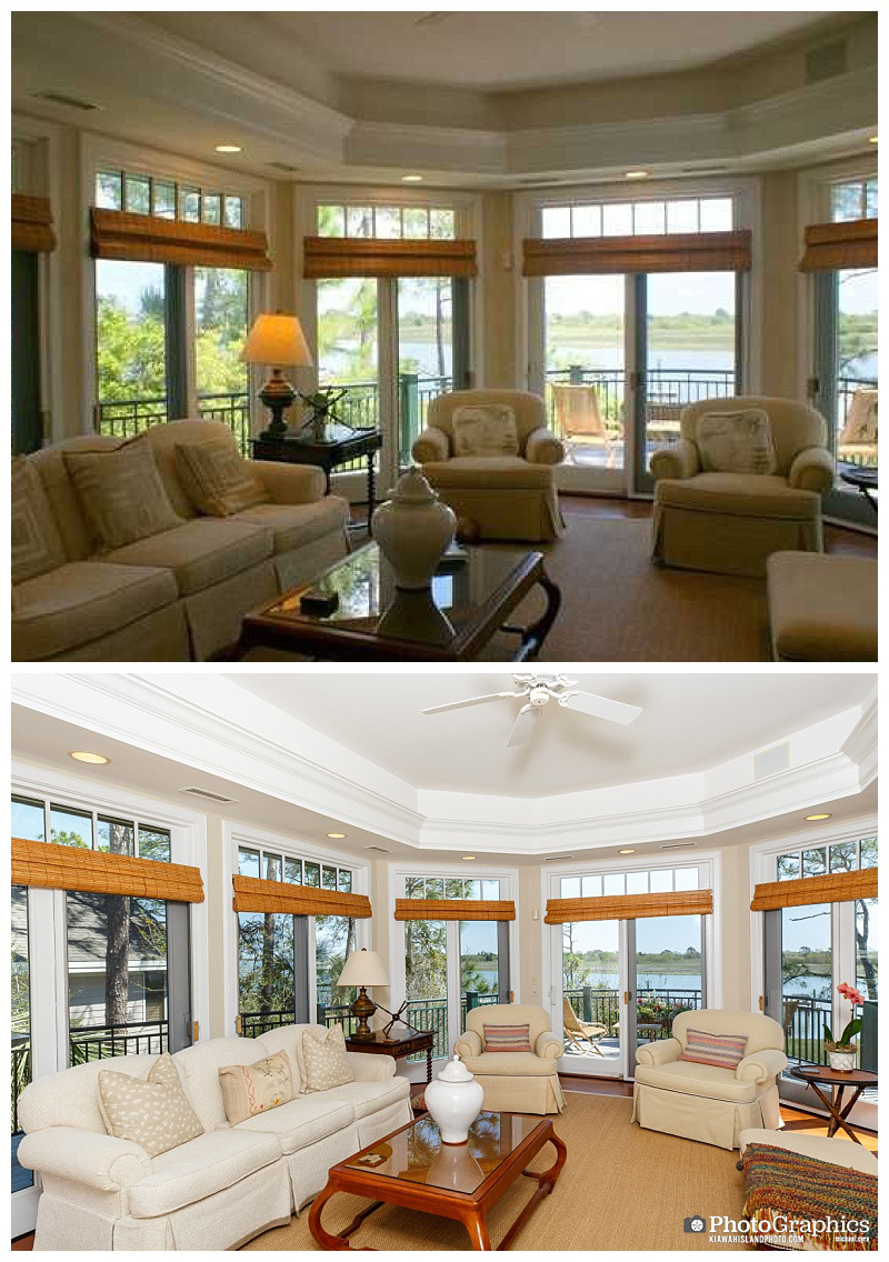 Before and after photos of a home on Kiawah Island, South Carolina