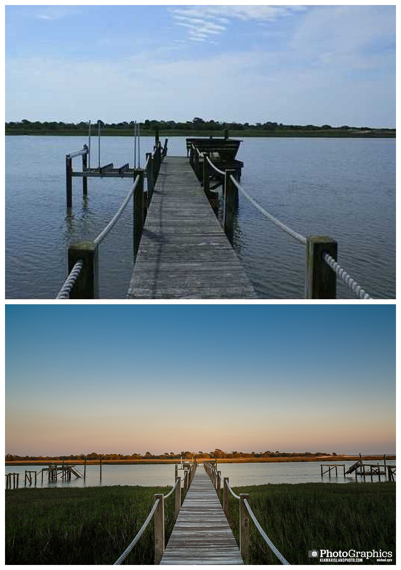 Dock at a home on Kiawah Island. Before and after photos