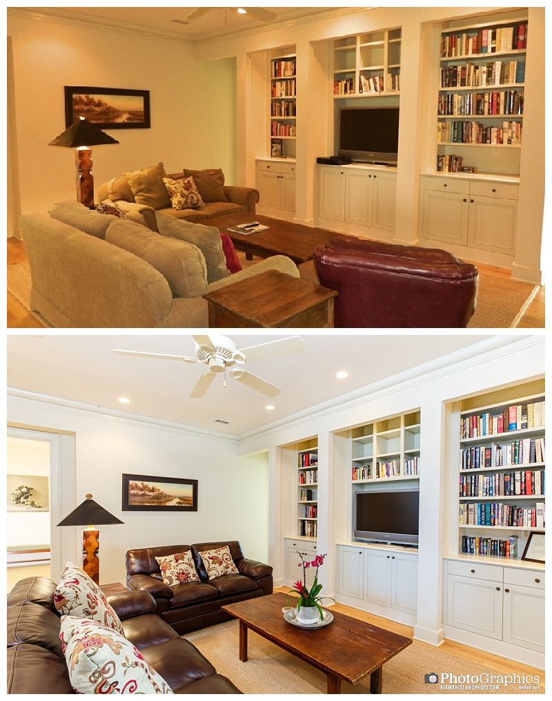 Before and after photos of a living room by two different photographers. Real Estate Photography on Kiawah Island