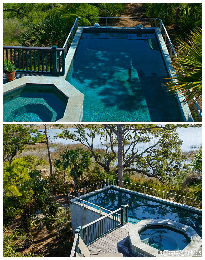 Two different views of a pool taken by two different photographers on Kiawah Island South Carolina. Real Estate Photography